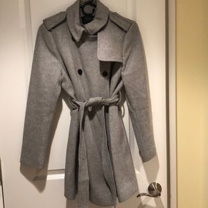 Ann Taylor grey wool trench coat